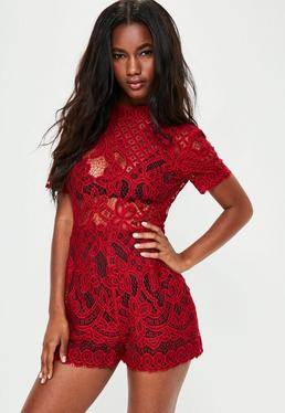 Red High Neck Lace Short Sleeve Playsuit