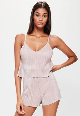Nude Pleat Overlay Strappy Playsuit