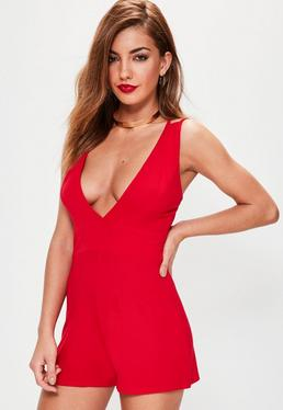 Red Jersey Plunge Double Strap Playsuit