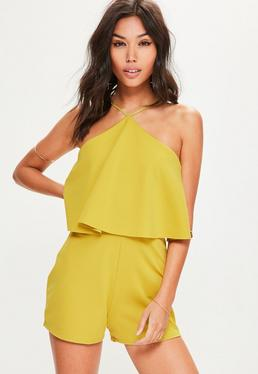 Yellow Scuba Halterneck Double Layer Playsuit