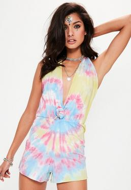 Yellow Tie Dye Knot Front Halterneck Playsuit