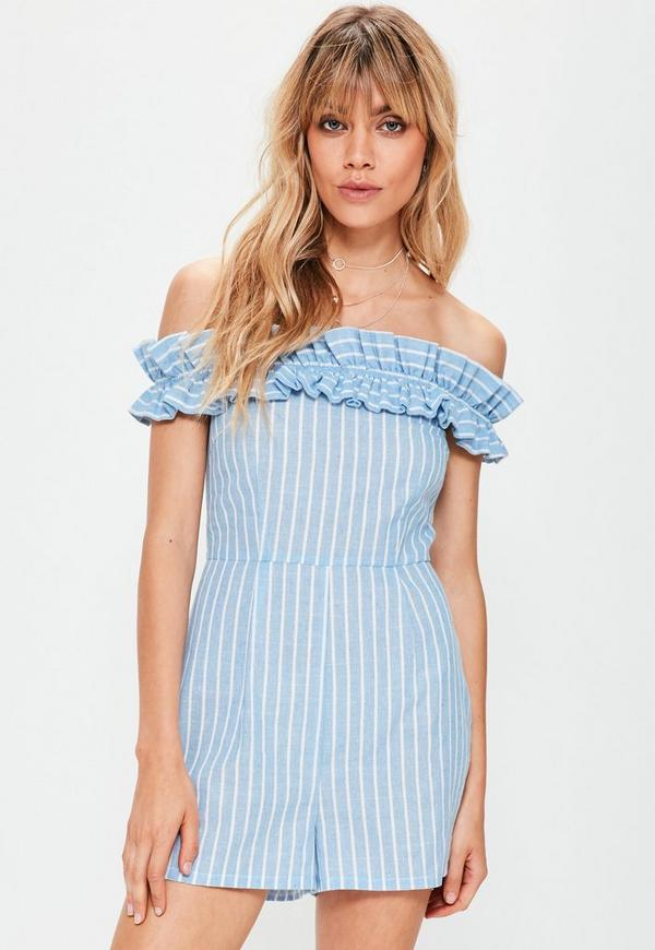 Blue Stripe Bardot Ruffle Playsuit