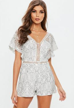 White Lace Open Sleeve Diamond Trim Insert Romper