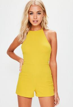 Yellow Strappy 90s Neck Crepe Playsuit