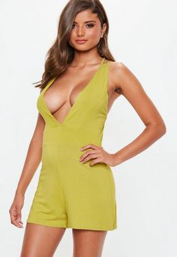 Yellow Jersey Plunge Double Strap Playsuit