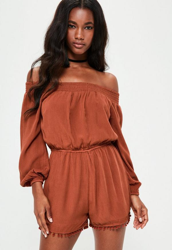 Brown Bardot Cheesecloth Pom Pom Short Playsuit