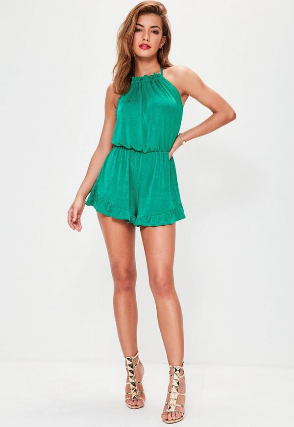 Green Gathered Neck Halterneck Frill Short Playsuit