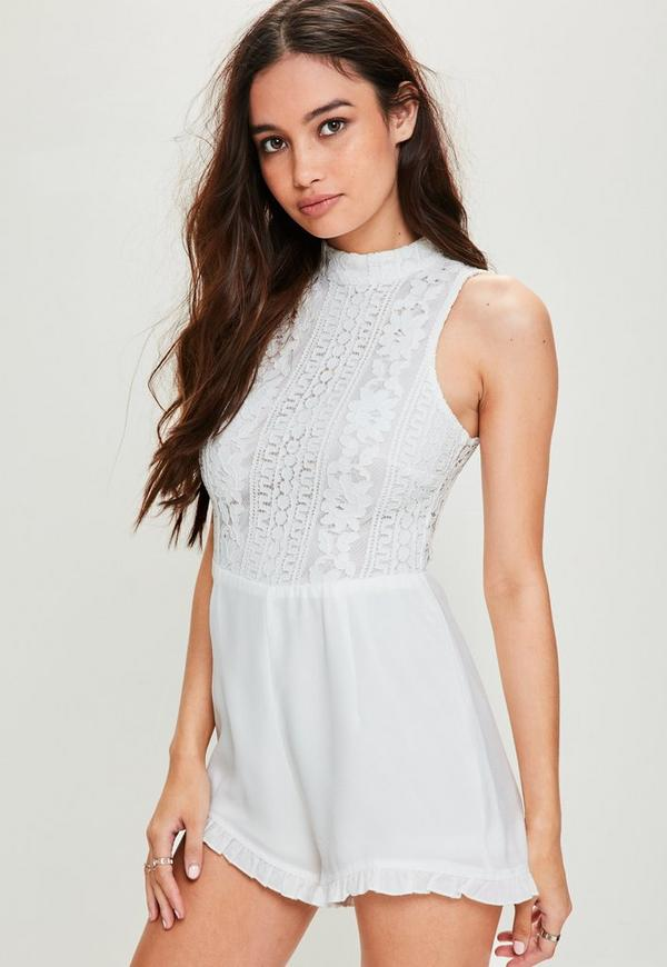 White Lace Top Frill Shorts Playsuit