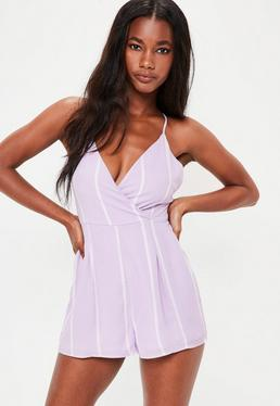 Lilac Strappy Stripe Wrap Playsuit
