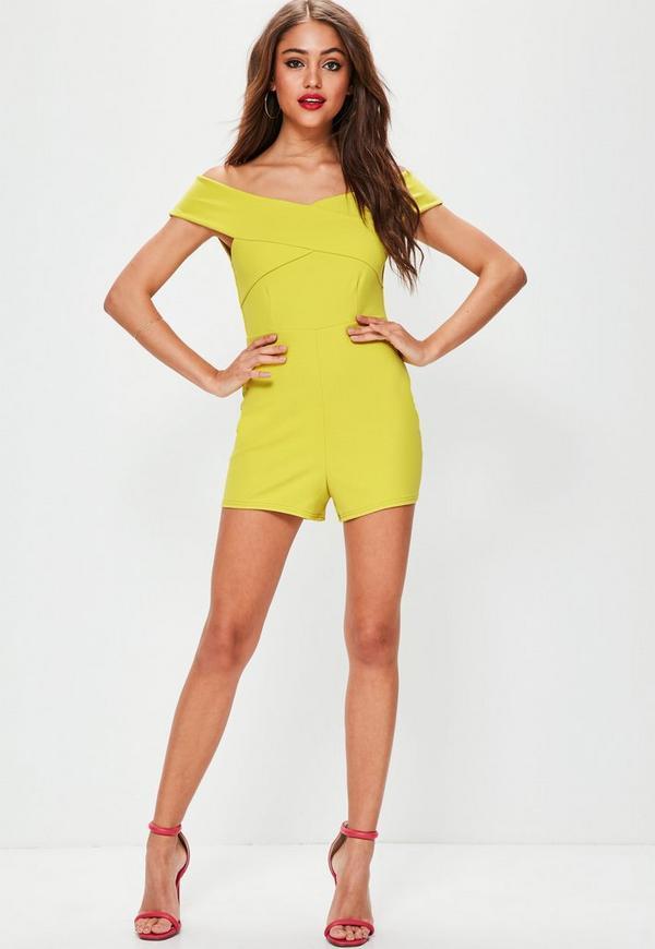 Yellow Cross Front Bardot Playsuit