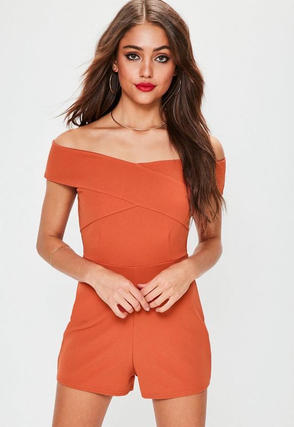 Orange Cross Front Bardot Playsuit