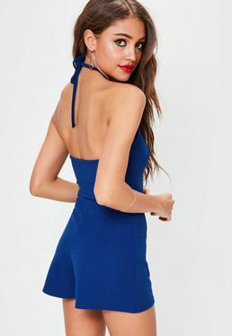 Blue Strappy 90's Neck Crepe Romper