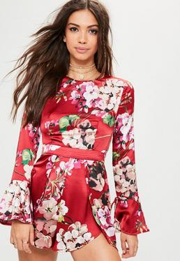 Red Floral Print Open Frill Back Playsuit