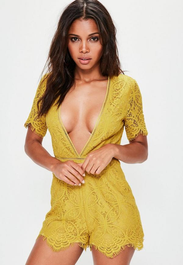 Yellow Plunge Lace Ladder Trim Playsuit