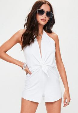 White Halterneck Playsuit