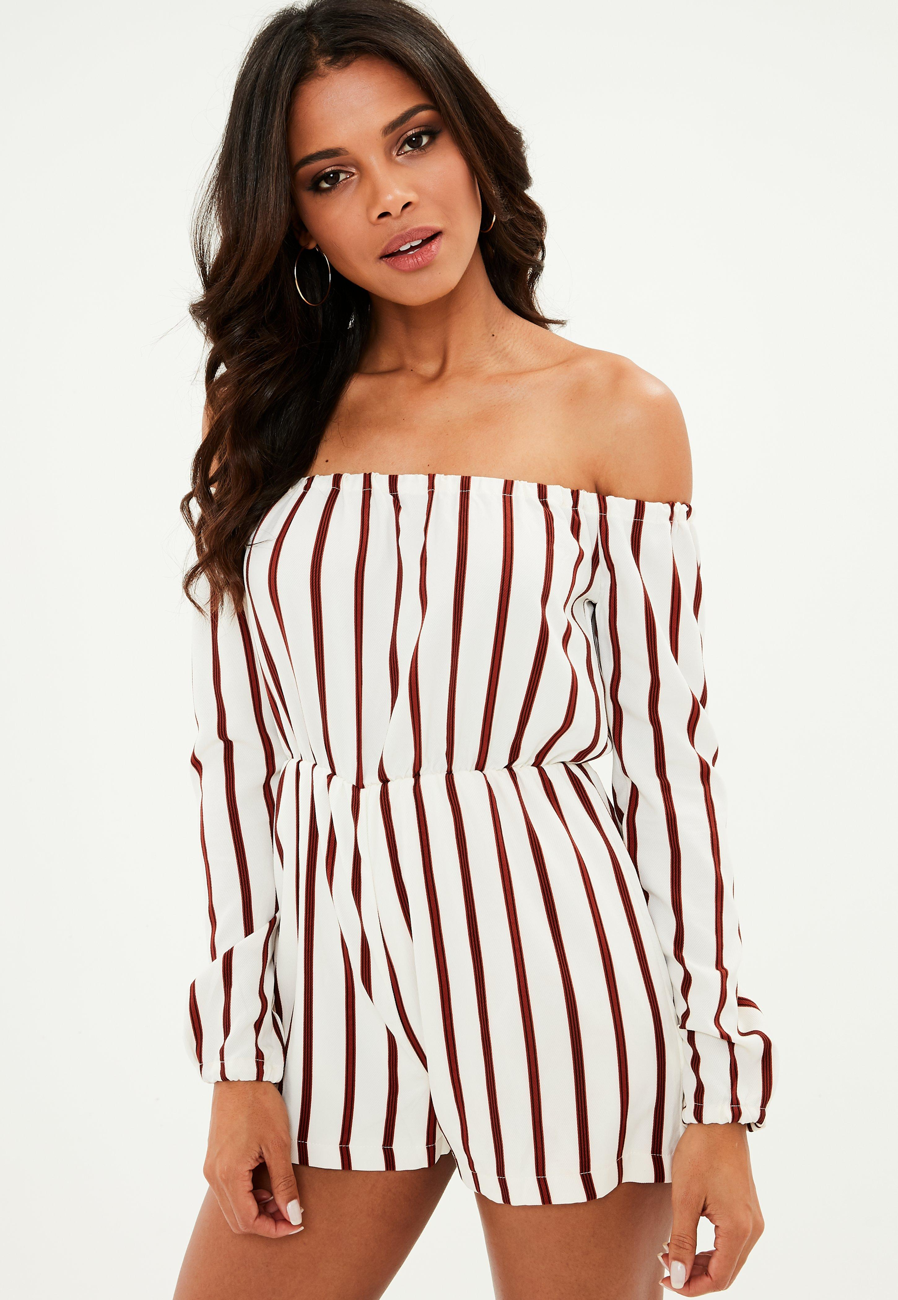 79c25ad5bb3 Missguided White Stripe Bardot Playsuit at £10