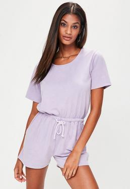 Purple Drawstring Playsuit