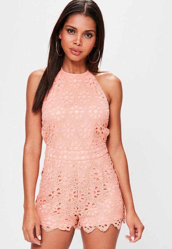 Pink Halterneck Floral Lace Playsuit