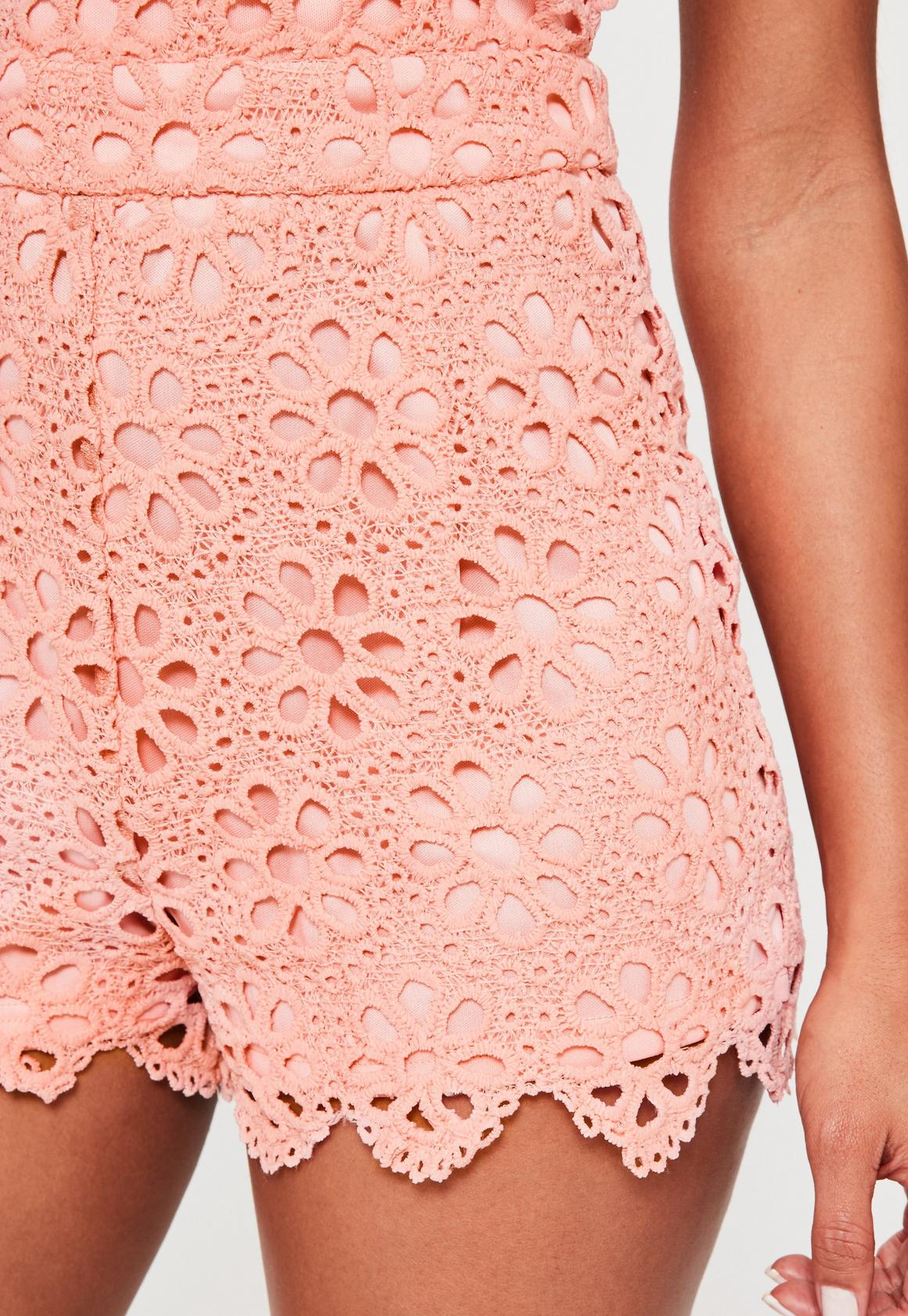 a0a93cdbf4 Missguided - Pink Halterneck Floral Lace Playsuit