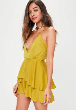 Yellow Cami Satin Playsuit