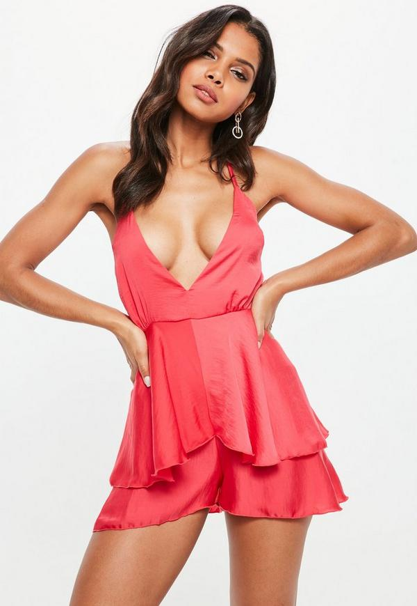 Pink Cami Satin Playsuit