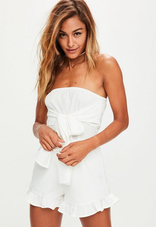 White Knot Front Bandeau Playsuit