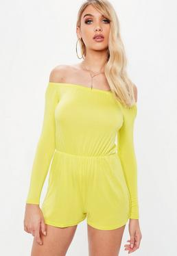 Yellow Jersey Long Sleeve Bardot Playsuit