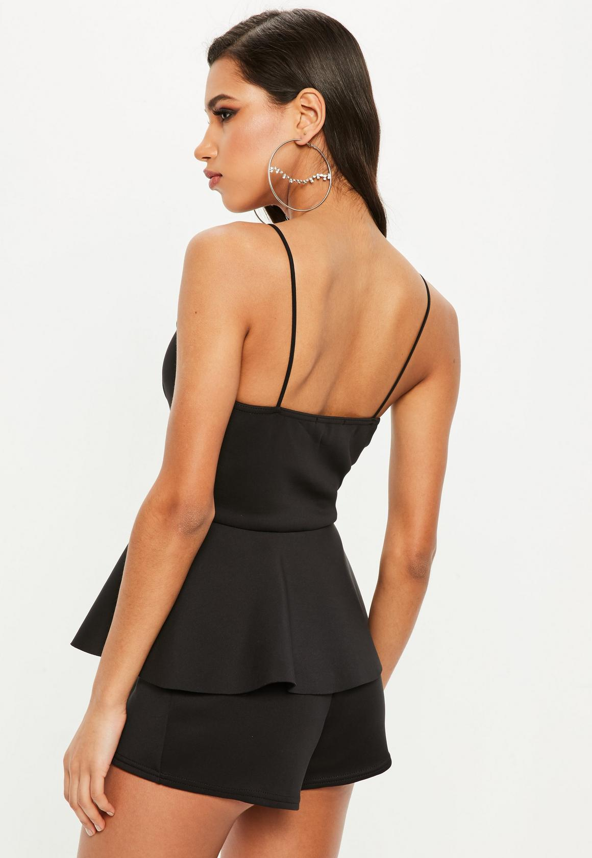 852d84f03c Missguided - Black Peplum Playsuit