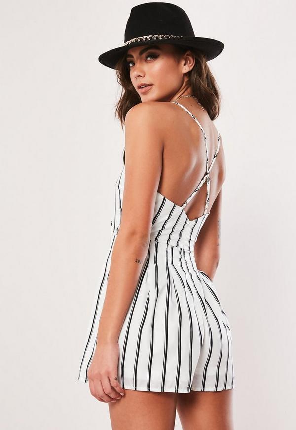1a36ff596da1 White Stripe Cami Wrap Playsuit
