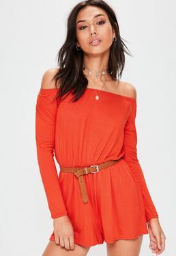 Pomarańczowy krótki dżersejowy kombinezon bardot z długim rękawem