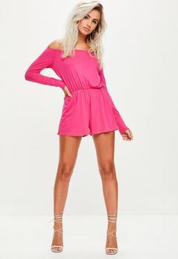 Pink Jersey Bardot Playsuit