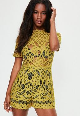 Yellow High Neck Lace Short Sleeve Playsuit