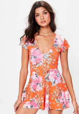 Red Floral Cap Sleeve Playsuit