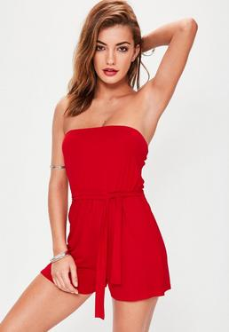Red Jersey Bandeau Tie Waist Playsuit