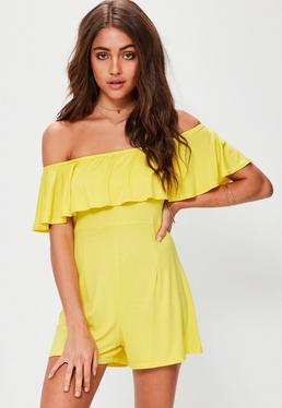 Yellow Jersey Frill Bardot Playsuit
