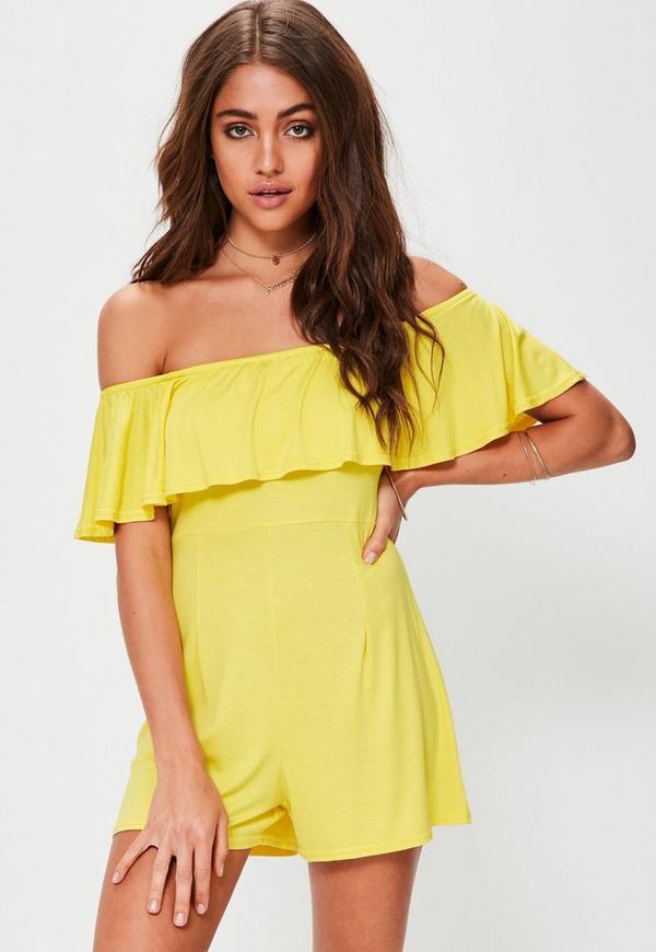 Yellow Jersey Frill Bardot Playsuit