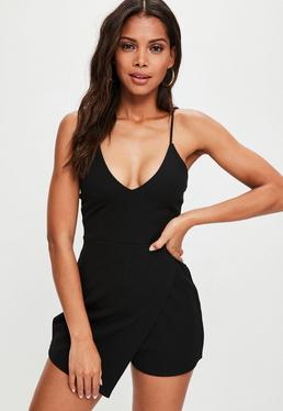Black Strappy Crepe Wrap Skort Playsuit