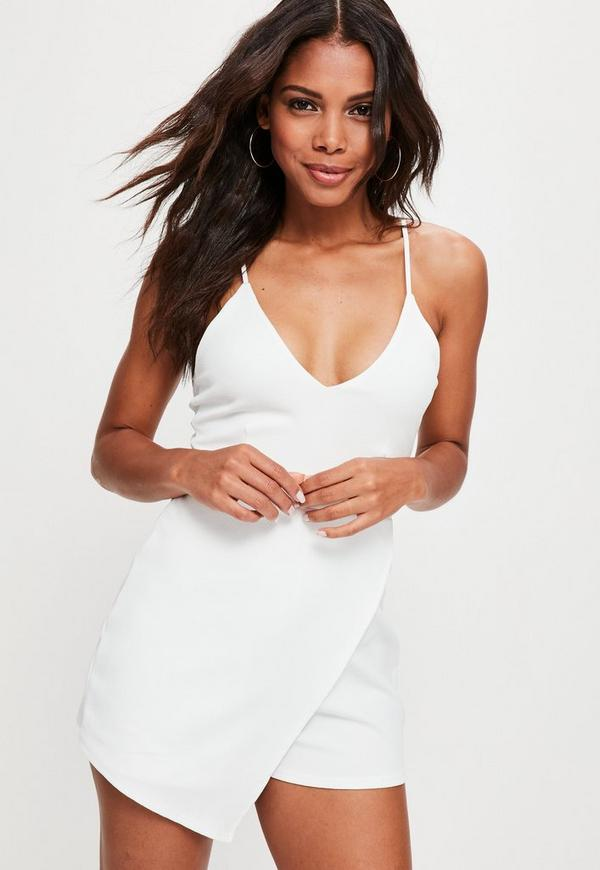 White Strappy Crepe Wrap Skort Playsuit by Missguided