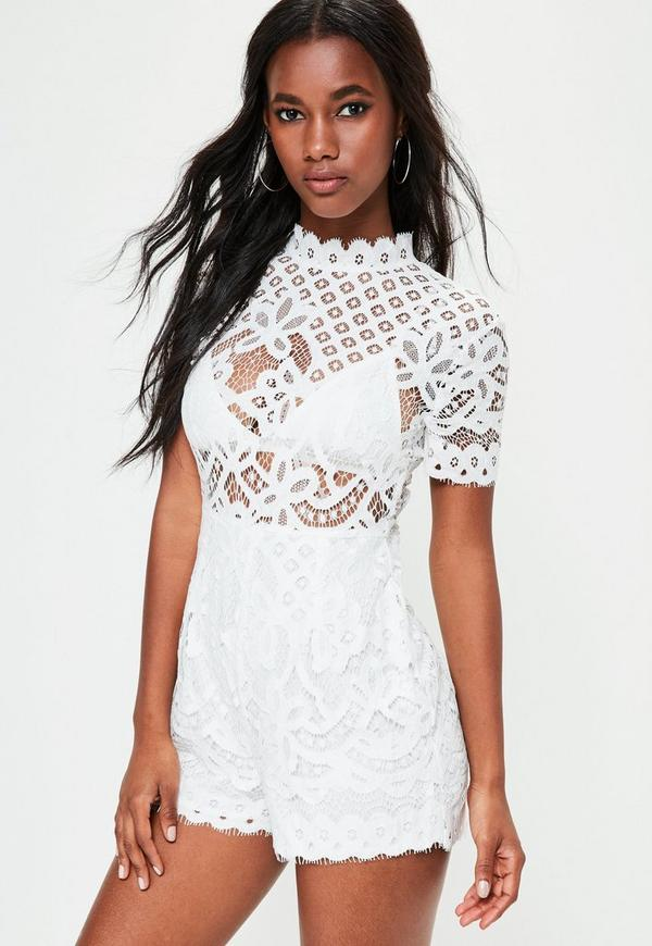White High Neck Lace Short Sleeve Playsuit