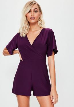 Purple Slinky Wrap Playsuit