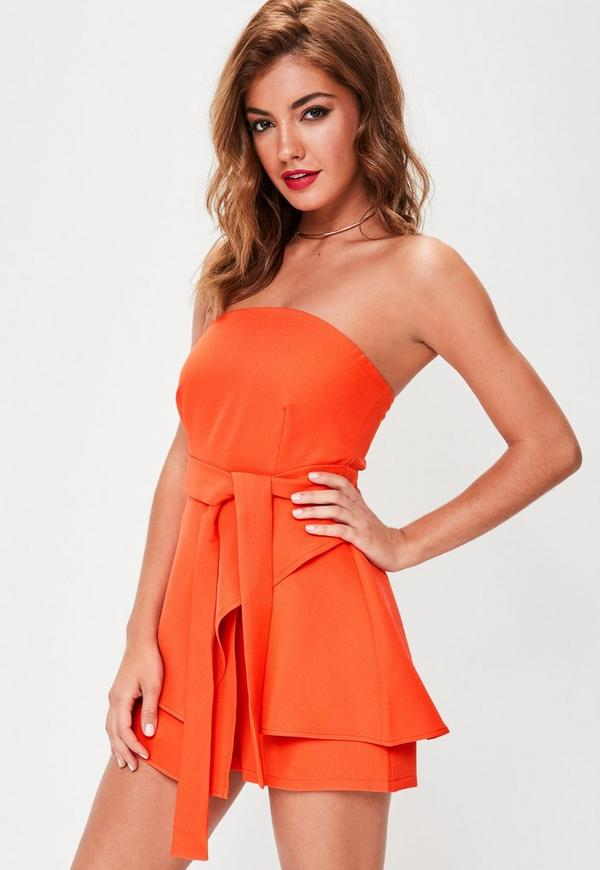 Orange Bandeau Tie Waist Skort Playsuit