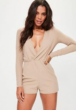Nude Crepe Wrap Playsuit