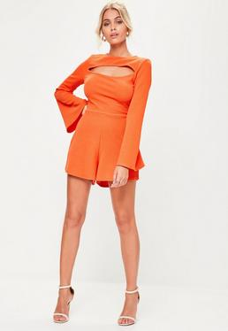 Orange Cut Out Flare Long Sleeve Playsuit