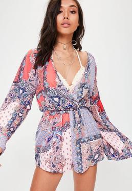 Pink Paisley Kimono Romper