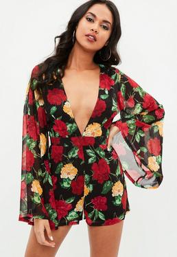 Black Printed Plunge Kimono Sleeve Playsuit
