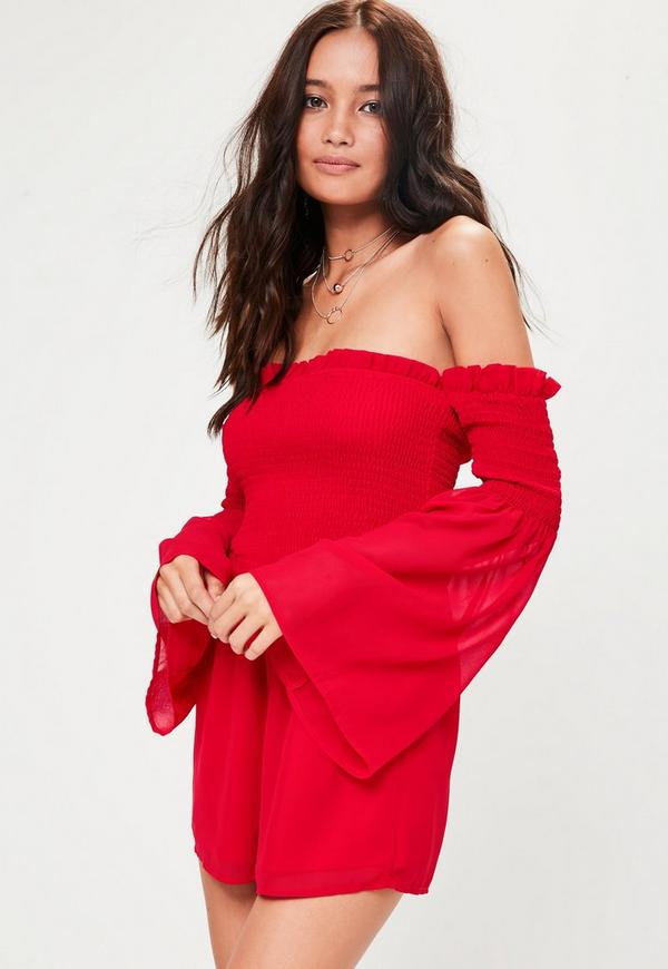 Red Shirred Top Playsuit