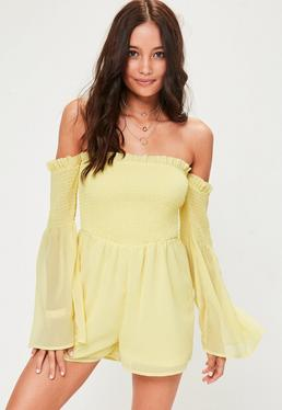 Yellow Shirred Top Playsuit
