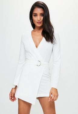 White Long Sleeve Crepe Tailored Romper