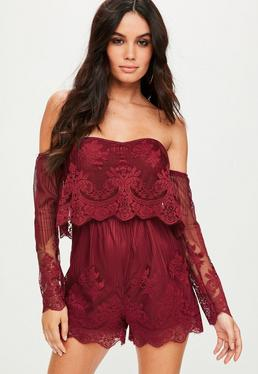 Red Lace Bardot Playsuit