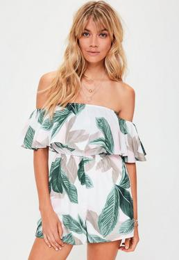 White Tropical Leaf Print Bardot Playsuit